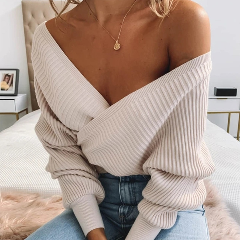 Knitted Sweater 2021 Fashion Autumn Simple Batwing Sleeve V Neck Sexy Pullovers Woman Cropped Slim Female Sweater enlarge