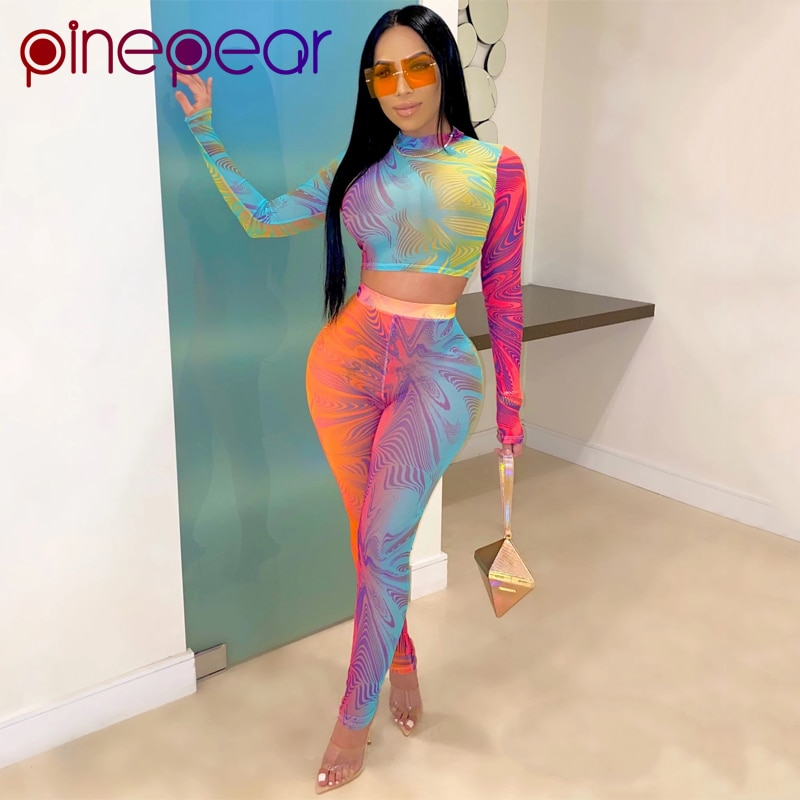 PinePear conjunto de dos piezas de manga larga Crop Top y pantalones 2020 mujeres moda gradiente estampado colorido 2 piezas trajes Drop Shipping