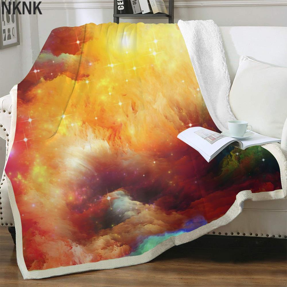 NKNK برانك غالاكسي بطانية الدخان ثلاثية الأبعاد طباعة الفراش الملونة رمي سديم أفخم رمي بطانية شيربا بطانية موضة عالية الجودة