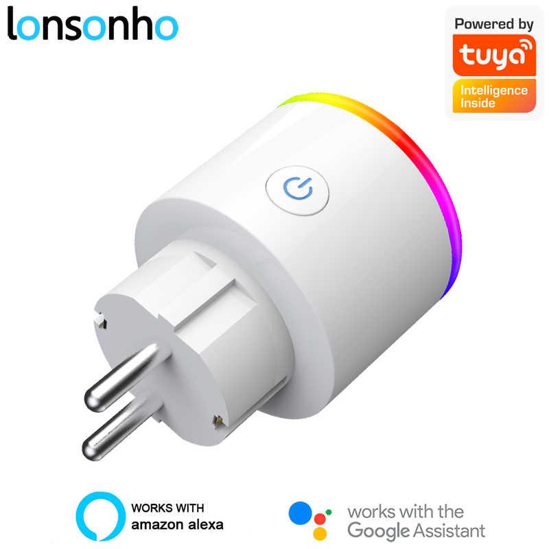Lonsonho Tuya Smart Plug Wifi Smart Socket Eu Plug Type F 16a Power Monitor Wireless Control Compatible Alexa Google Home Mini Smart Power Socket Plug Aliexpress