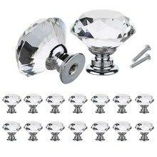 Poignées de porte darmoire de cuisine, boutons au Design en forme de diamant de 30mm, pour tiroir et placard, traction armoire de cuisine, poignées de porte darmoire quincaillerie 10 pièces/ensemble