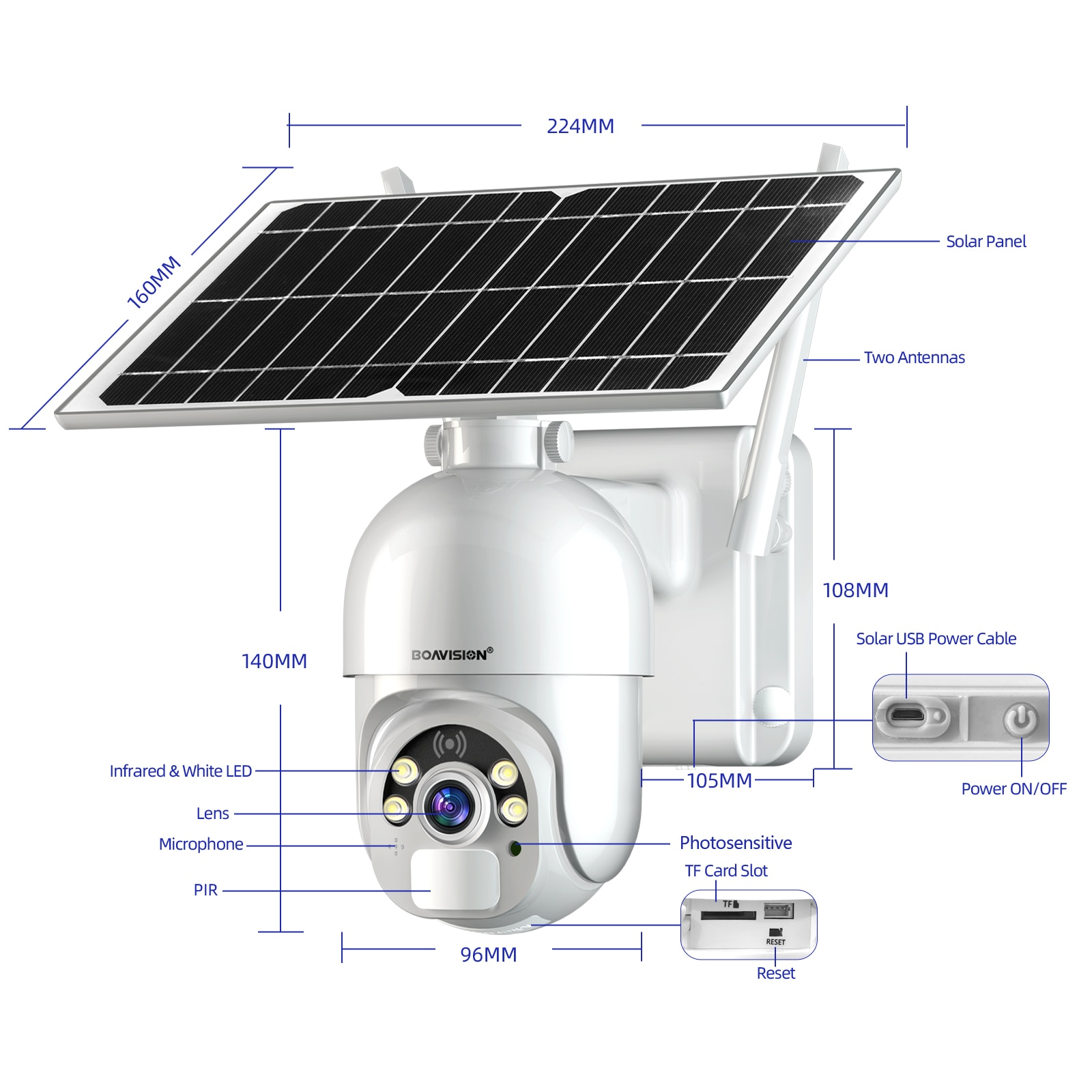 1080P WIFI Camera Solar Panel Outdoor IP Camera Rechargeable Battery Powered Colorful Night Vision Surveillance Security camera