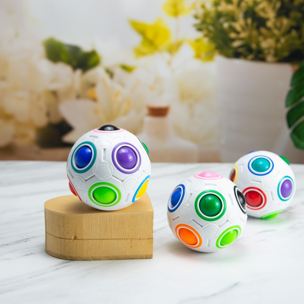 Antistress Cube Rainbow Ball Puzzles Football Magic Cube Educational Learning Toys for Children  Kids Stress Reliever Toys