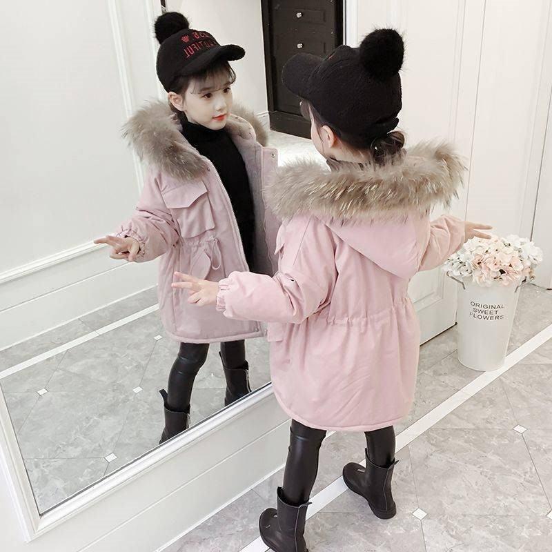 2020 Winter New Children Girls Cotton-Padded Warm Thick Parkas Jacket Kids Girls Plus Velvet Down Cotton Coats Outerwear W278 enlarge