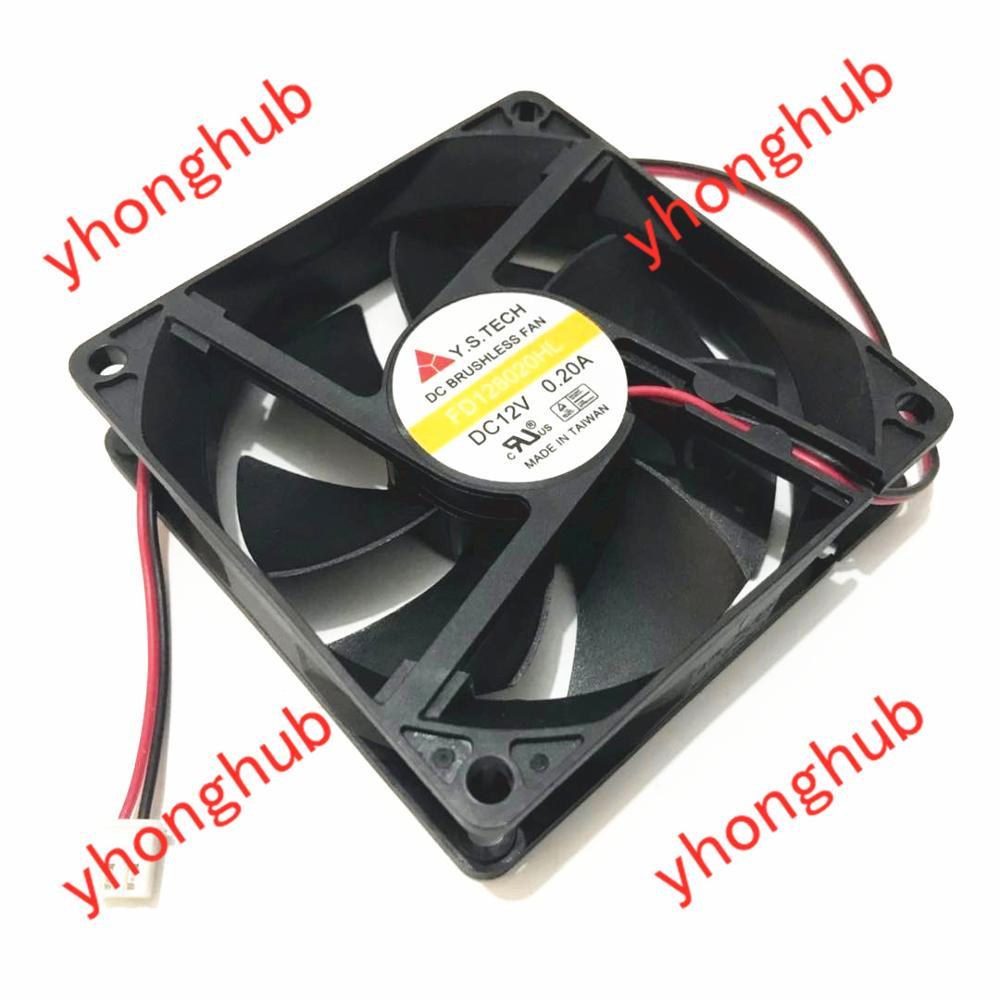 Y.S TECH FD128020HL Server Cooling Fan DC 12V 0.20A 80x80x20mm 2-wire