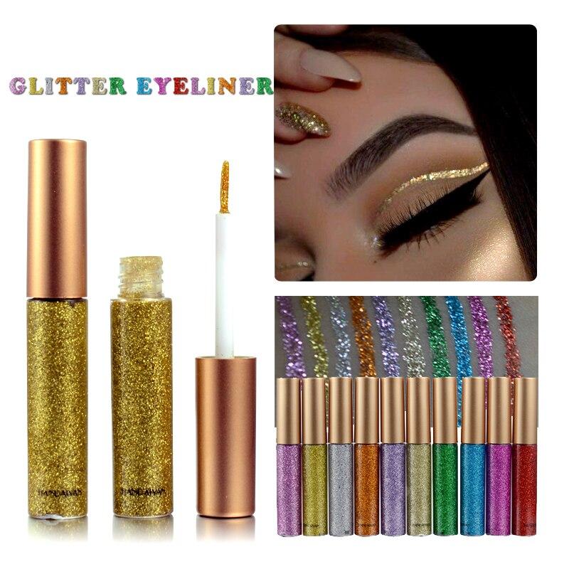 Брендовая новинка, подводка для глаз, 10 цветов, белое золото, блестящие тени для век, легко носить, водостойкая, жидкая подводка для глаз, красота, подводка для глаз, макияж, TSLM2