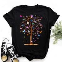 woman butterfly tree print harajuku summer tshirts casual round neck short slee top tee shirt women black t shirt drop ship