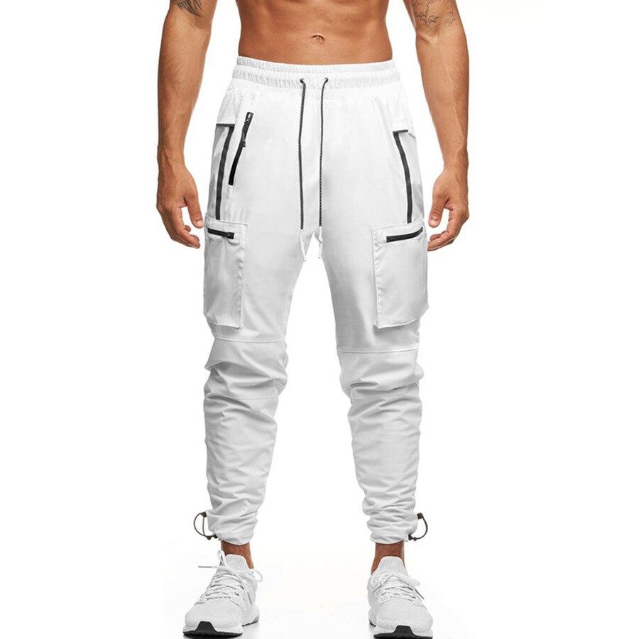 Reflective men's cargo pants fitness sweatpants outdoor gym running training slacks multi-pocket jog