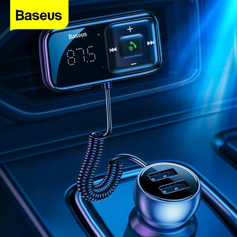 Baseus سيارة FM الارسال بلوتوث متوافق 5.0 USB شاحن سيارة AUX يدوي لاسلكي عدة راديو تلقائي المغير مشغل MP3