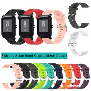 20mm Silicone Watch Band Classic Metal buckle Strap for Huami Amazfit Bip Lite S U for GTS 2 GTR 42mm Neo Replacement strap