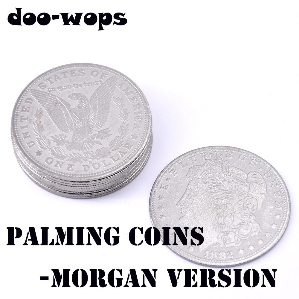 10 Uds Palming Coins (versión Morgan) trucos de Magia súper fino moneda Close Up Street Illusion accesorios truco comedia