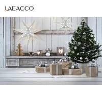 laeacco christmas festival photo background christmas tree star grunge wood interior scene gift light photographic backdrop