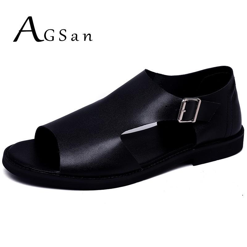صندل من الجلد الطبيعي للرجال ، حذاء صيفي عصري ، أسود ، خارجي ، مسامي ، مريح ، مسطح