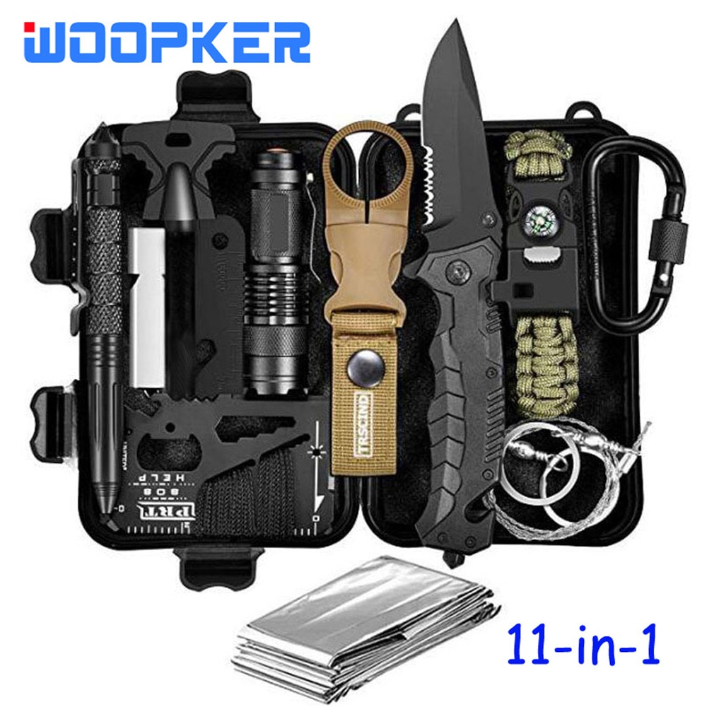 11-in-1 Emergency Survival Kits SOS EDC Bag Tools Tactical Gear with Knlife Falshlight Chain Saw Chr