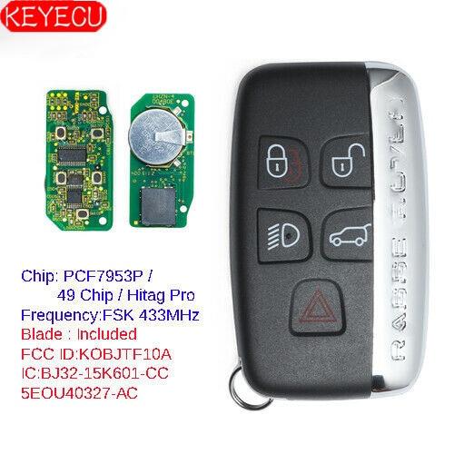 KEYECU Smart Remote Key Fob 315MHz/433MHz for Land Rover LR2 LR4,Range Rover Evoque Sport 2012 2013 2014 2015 2016 17 KOBJTF10A