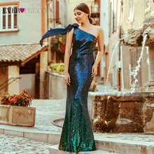 One Shoulder Evening Dresses Long Ever Pretty Mermaid Sleeveless Sexy Sequined Formal Dress Elegant
