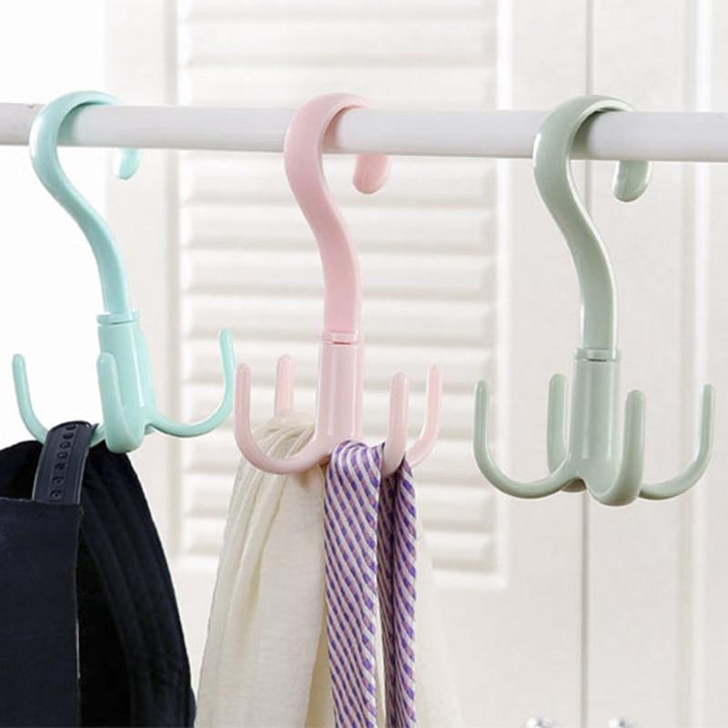 Rotatable 4-claw Multipurpose Hanger Hook Hanger Tie Scarf Scarf Coat Rack Plastic Hook Shoe Rack