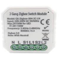 Module commutateur intelligent Tuya Zigbee 3 0  220V  2 voies  sans fil  avec neutre ue  Compatible avec Alexa Google Home