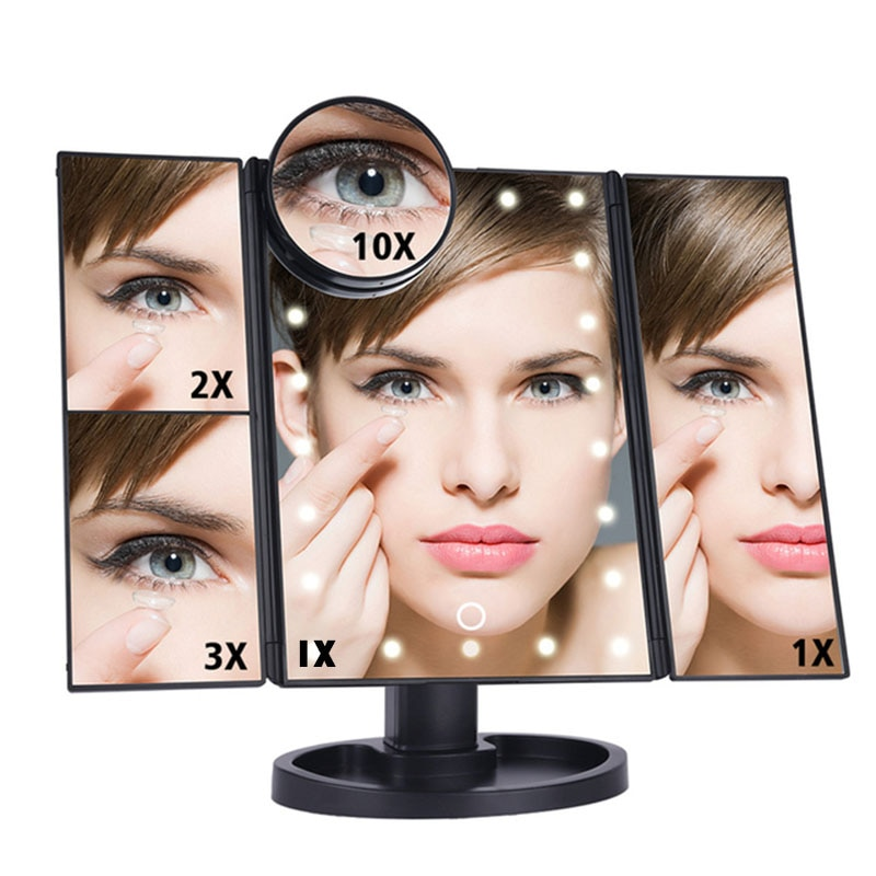 1X/2X/3X/10X Magnifying Mirror LED Touch Screen 22 Light Makeup Mirror Folding Adjustable Vanity Mirror Bedroom Cosmetic Mirrors