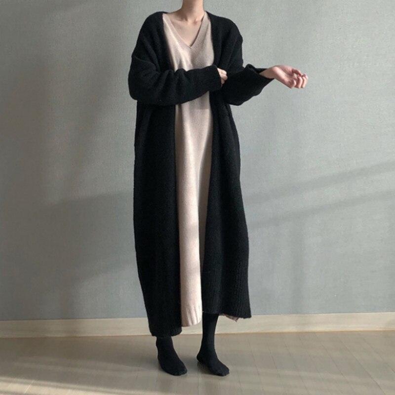Cárdigan de punto largo de Invierno para mujer, abrigo elegante Vintage holgado de talla grande, abrigo gris para mujer, Harajuku coreano