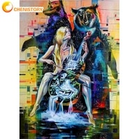 chenistory guitar woman diy painting by numbers set acrylic paints color animal coloring by numbers handmade for kids handiwork
