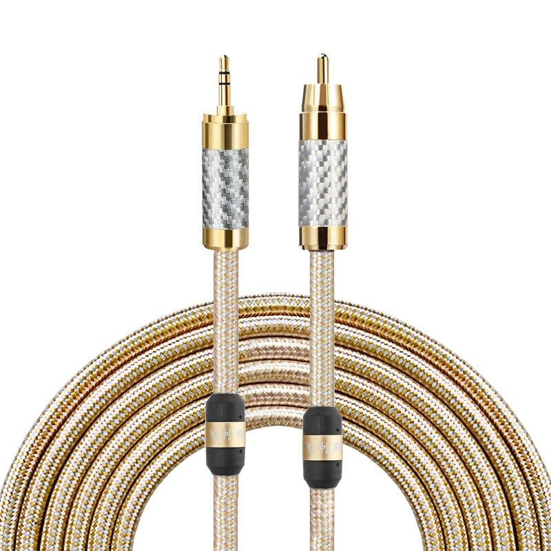 Cable de Audio Hifi 3,5mm Mini Jack a RCA Phono para auriculares móviles amplificador Soundbox alambre plateado