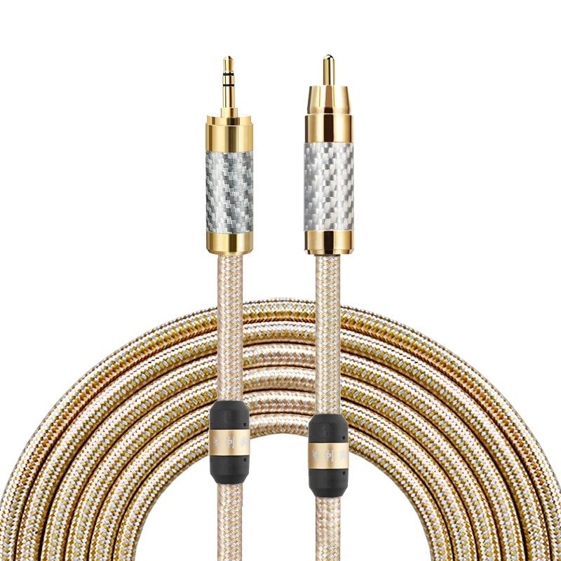 Cabo de áudio de alta fidelidade 3.5mm mini jack para rca phono para fone de ouvido móvel amplificador soundbox fio banhado a prata