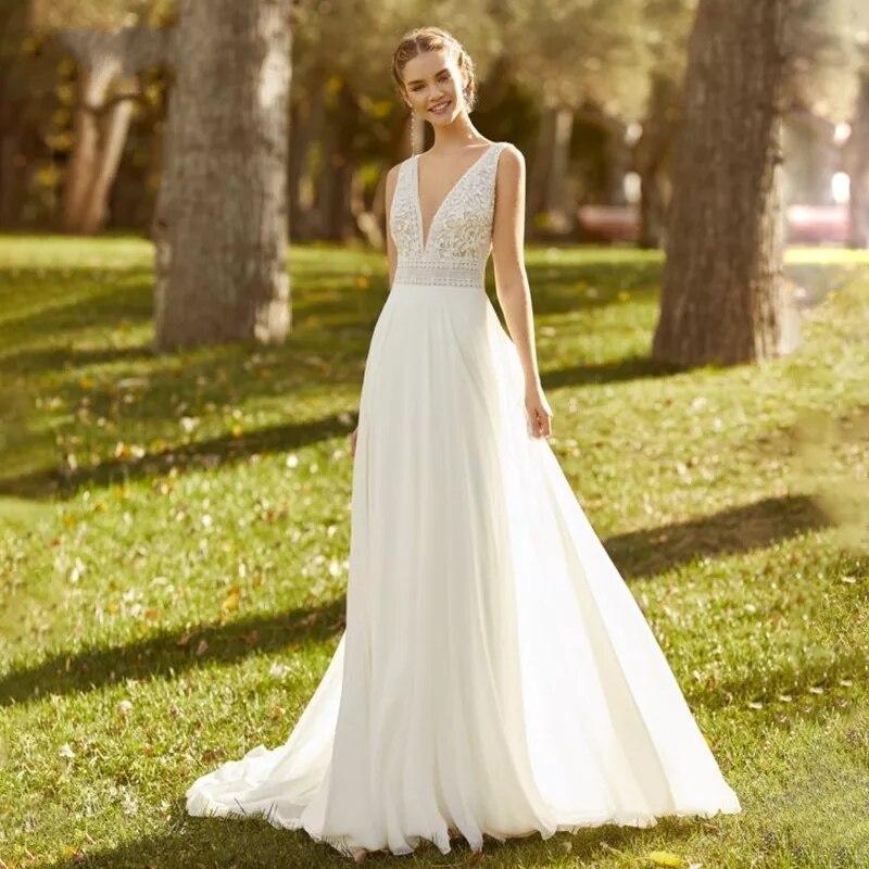 Vestido de novia de gasa Vintage bohemio para mujer, elegante vestido de...