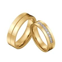 Alianzas de amor clásicas, propuesta de matrimonio, conjunto de pareja de anillos de boda para hombres y mujeres, anillo de acero inoxidable de Color dorado para hombres