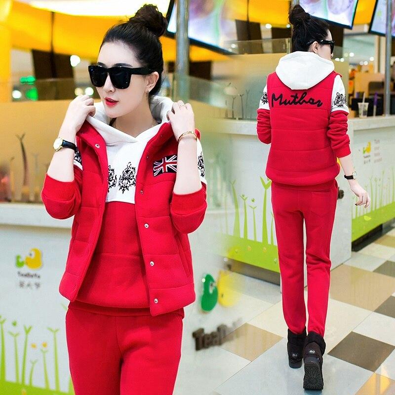 Nova moda feminina terno outono e inverno treino feminino conjunto casual com um capuz camisola de lã três peças conjunto