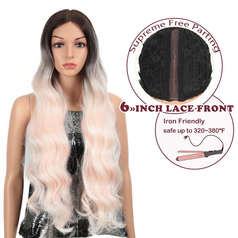 "Pelucas sintéticas frontales de encaje mágicas de 28 ""para mujeres negras peluca Africana ondulada larga Natural resistente al calor de fibra media de despedida"