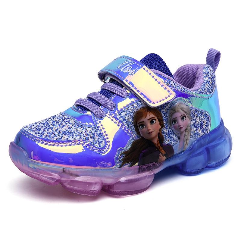 Zapatos Deportivos Disney para niñas, novedad de verano, zapatos informales de alta calidad para niños, zapatos elsa de cuero artificial de goma con luz LED