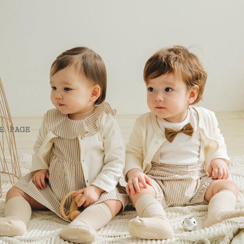 بدلة رومبير لحديثي الولادة ، ملابس مطابقة للأخ والأخت ، بذلة قطنية للأولاد والبنات ، فستان مخطط ، ملابس حفلات للأطفال ، 2021