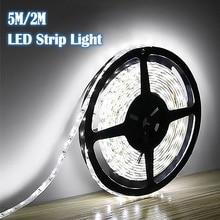 Lámpara de noche Led 2M/5M RGB LED tira de luz 12V 2835 blanco fresco 120Led/300Led SMD Flexible Led Cadena de luz al aire libre decoración del hogar