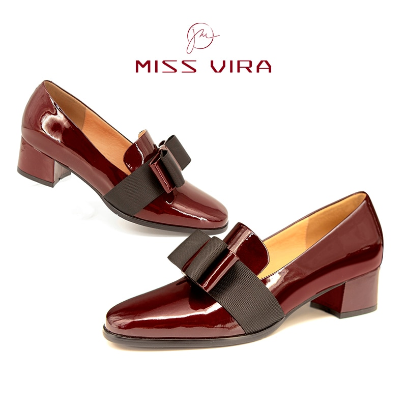 MISS VIRA Pumps Women Loafers Mid Heels Genuine Leather Square Toe Loafers Party Shoes For Women Off