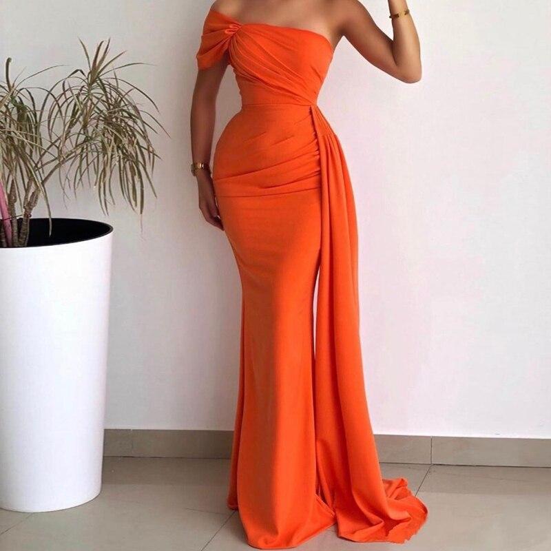 فستان سهرة عربي على شكل حورية البحر ، طويل ، برتقالي ، شيفون ، بدون حمالات ، مشد مطوي ، مصنوع حسب الطلب ، للحفلات الرسمية
