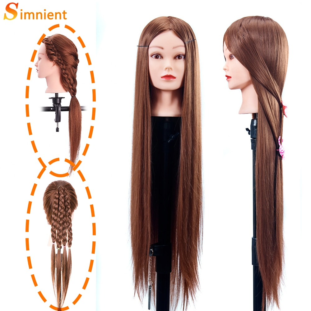 31.5'' Female Mannequin Head With Synthetic Hair Dolls For Hairdressers Mannequin Hairstyles Hairdressing Styling Training Head