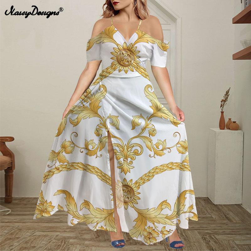 Noisydesigns بلوزات غير مغطية للكتف ماكسي بوهو سبليت فستان طويل الكشكشة صيف 2021 حفلة سهرة لون أبيض ذهبي زهري Vestido