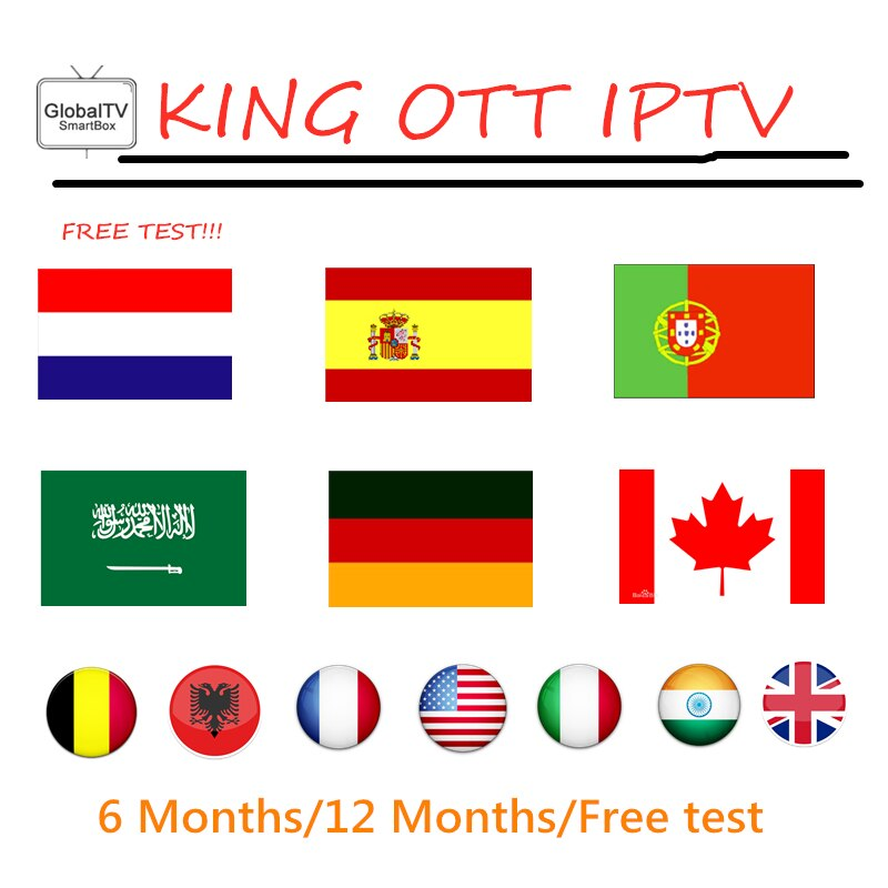 Suscripción KING OTT iptv Europa árabe Portugal IPTV España Alemania Bélgica Canadá ee.uu. para smart iptv M3U android tv box 1 año