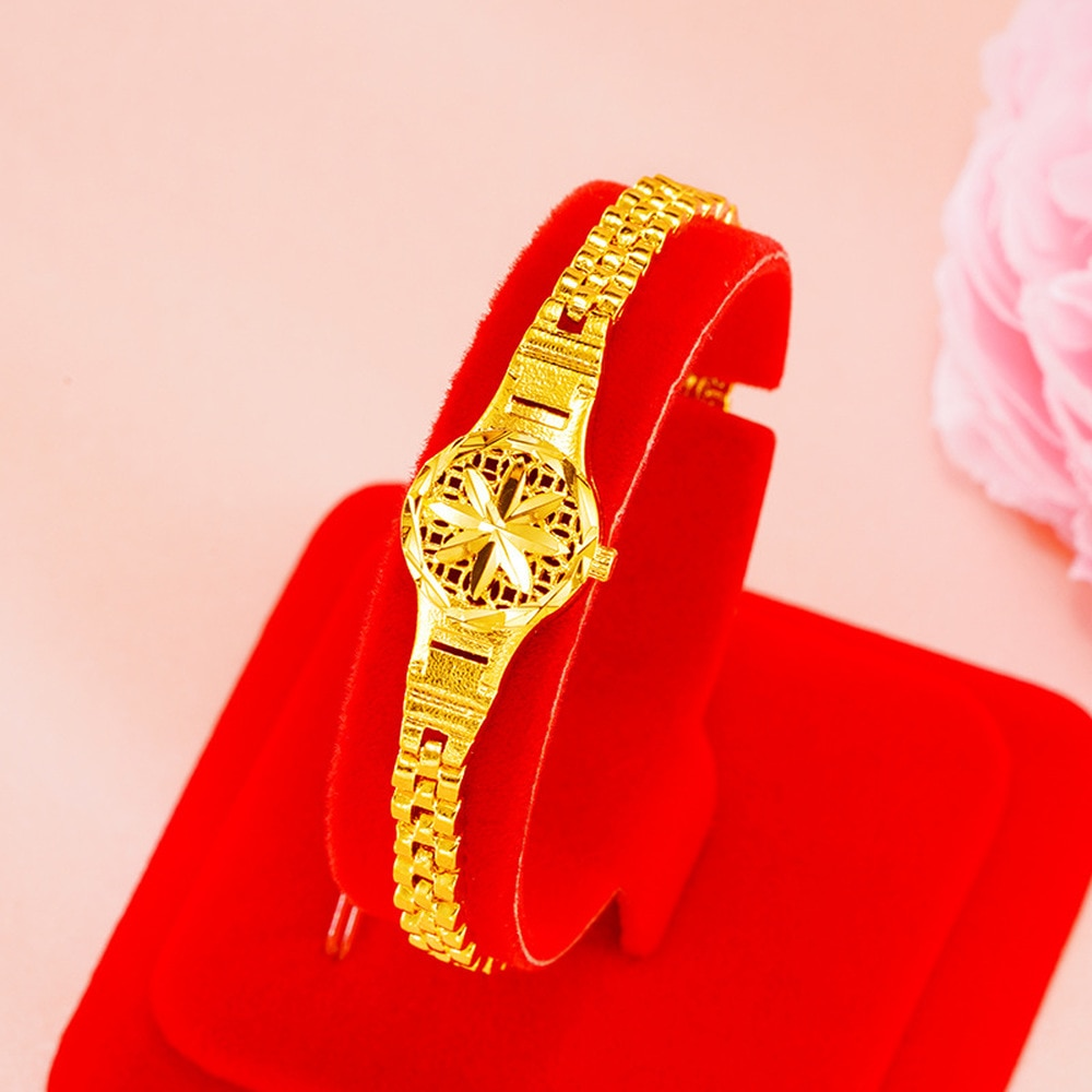Indian 24K gold Watch shape Charm Bracelets for Women New Trendy Elegant sunflower Bracelet Couples Jewelry Christmas Gifts