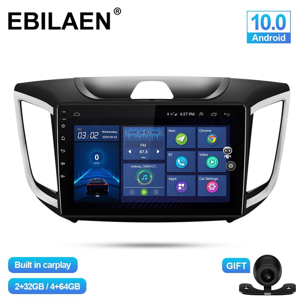 EBILAEN سيارة مشغل وسائط متعددة لشركة هيونداي Creta IX25 2014-2020 أندرويد 10.0 Autoradio نظام صوت للتنقل باستخدام جهاز تحديد المواقع كاميرا سماعة الرأس 4G