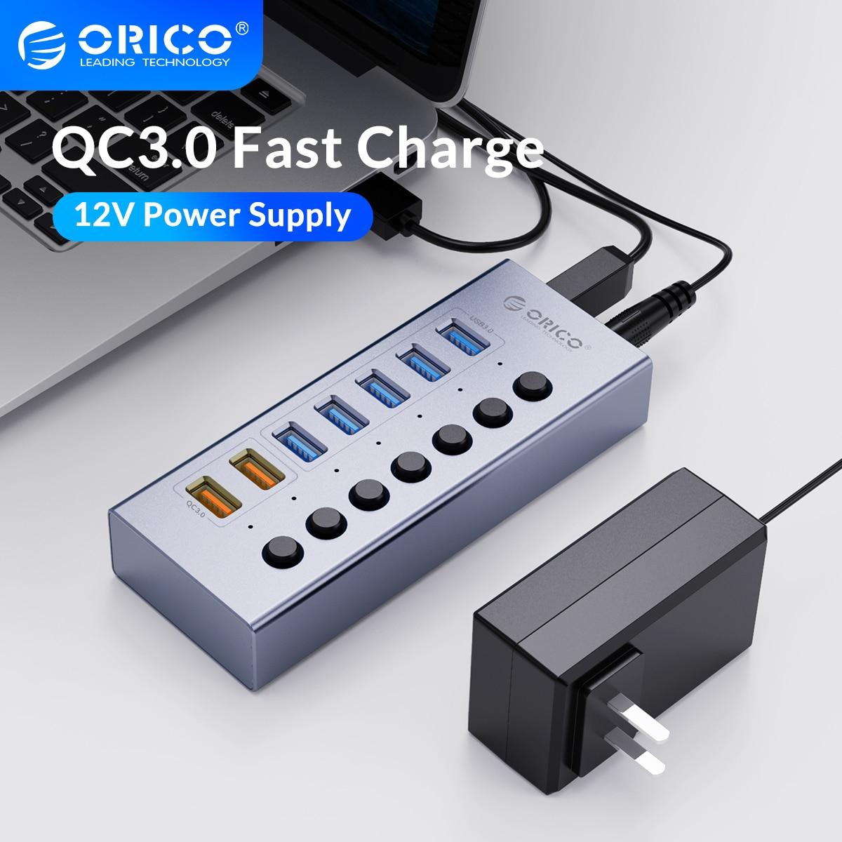 ORICO USB 3.0 HUB مع محول الطاقة 7/10 منفذ الفاصل محول ملحقات الكمبيوتر QC سريع شاحن يو اس بي للهواتف الذكية النقالة