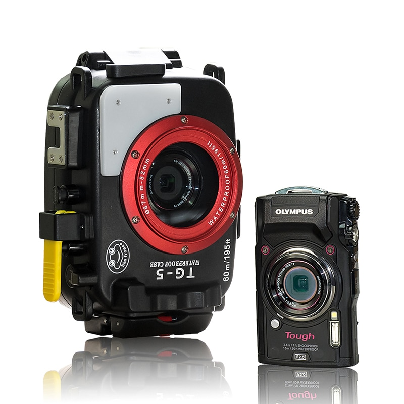 Seafrogs 60M Underwater Diving Waterproof Camera case for Olympus TG5 Camera With MEIKON 67mm Fisheyes TG-5