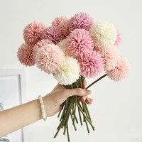 1   3   5 Pieces Bouquet De Fleurs Artificielles En Soie Veritable Pissenlit Boule Fleur Faux BRICOLAGE Maison Decoration De Mariage Cadeau de la Saint-Valentin