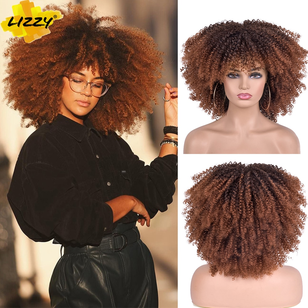 Short Hair Afro Kinky Curly Wigs With Bangs For Black Women African Synthetic Omber Glueless Cosplay Wigs High Temperature Lizzy