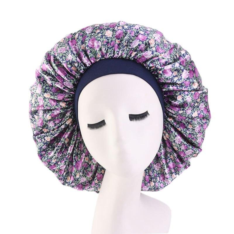 Casual Satin Bonnet Adjustable Large Headwear Sleep Cap With Elastic Band Women Female Sleeping Smooth Hair Care Cap Headscarf