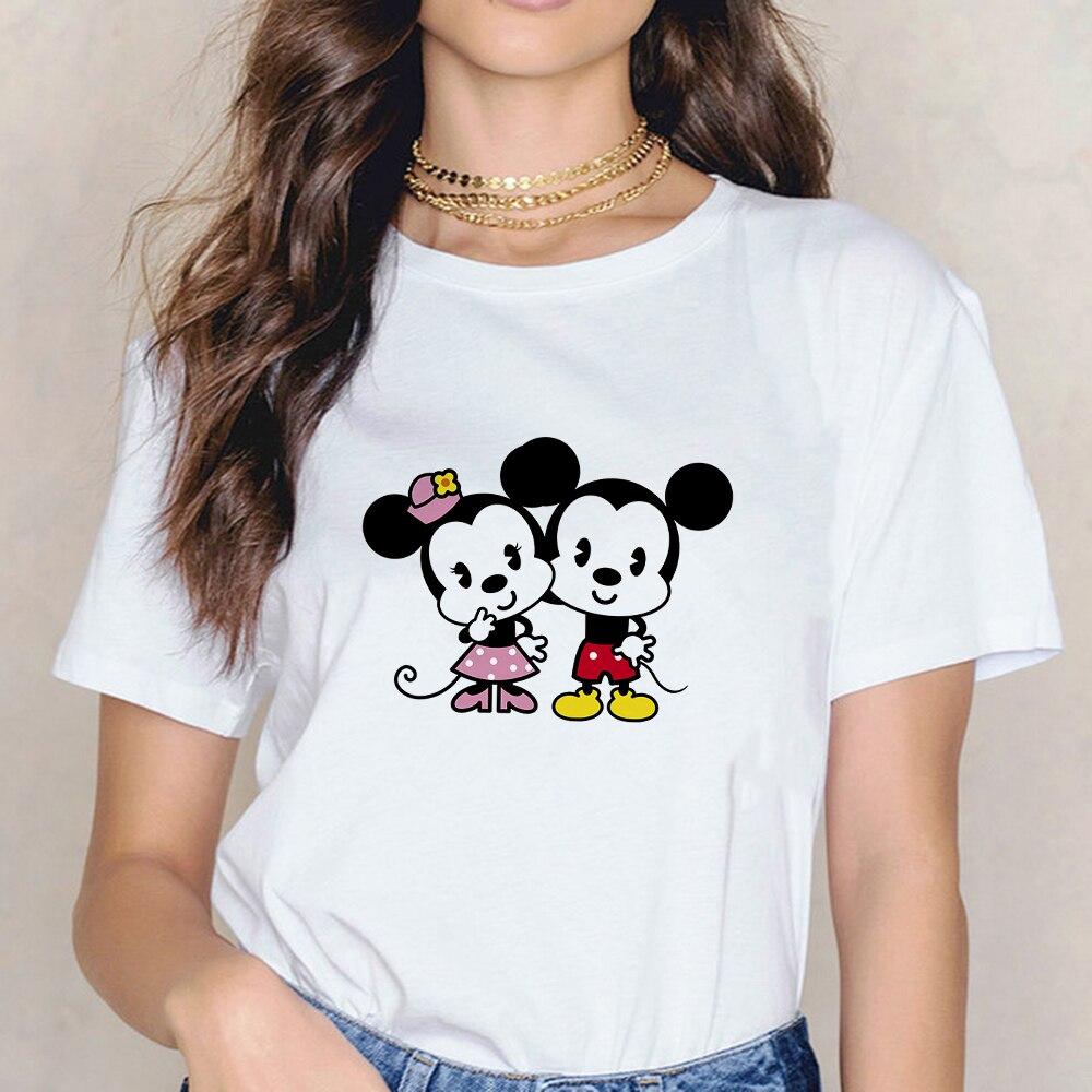 Mickey Minnie amantes estampado de ratón Camisetas mujeres camisas de verano para...