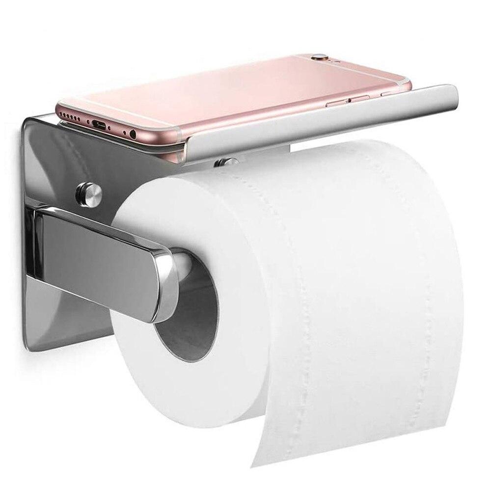 جدار فولاذي مقاوم للصدأ شنت حامل الورق الملفوف المرحاض الحمام رف الأنسجة ذاتية اللصق مع حامل هاتف المحمول تخزين الرف