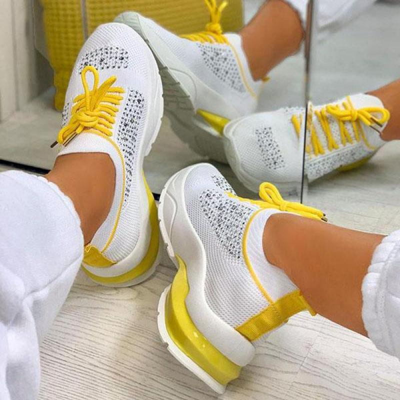 Women Casual Sneakers Fashion Rhinestone Ladies Vulcanized Shoes 2021 New Flat Shoes Lace Up Running