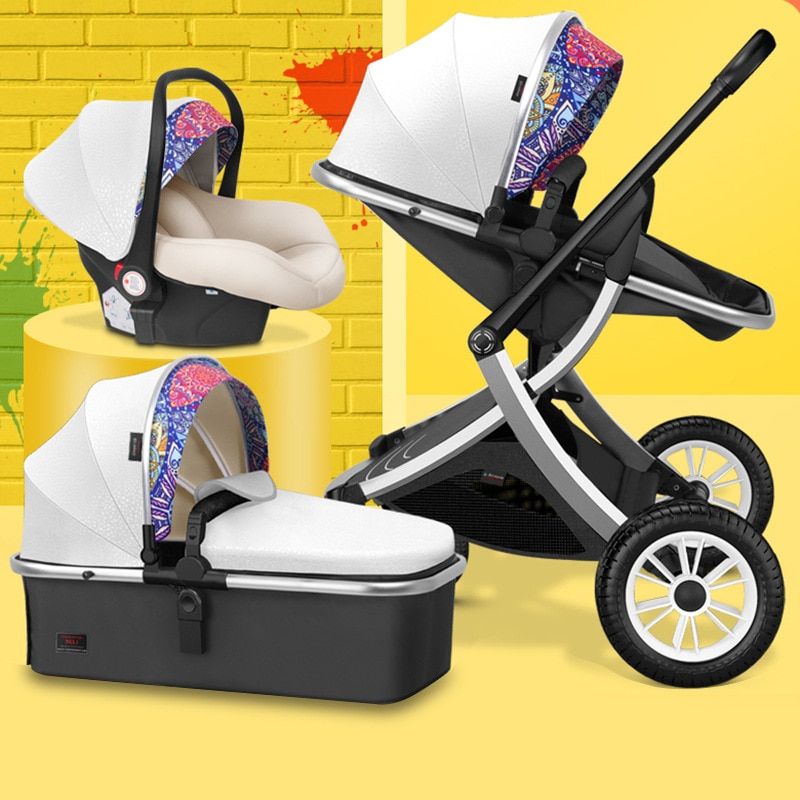 Hot-selling High Landscape Stroller Multifunctional Three-in-one with Car Seat and Cradle Lightweight Folding Luxury Stroller